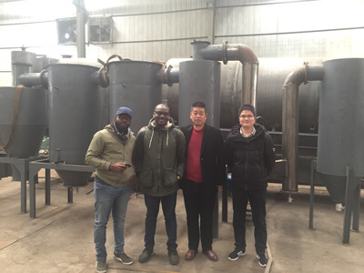 Rotary charcoal kiln Ghana customer