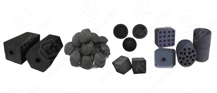 Different shape charcoal briquettes